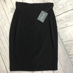 Zac Posen black silk pencil skirt NEW